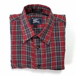 Vintage Burberry red plaid button down dress shirt